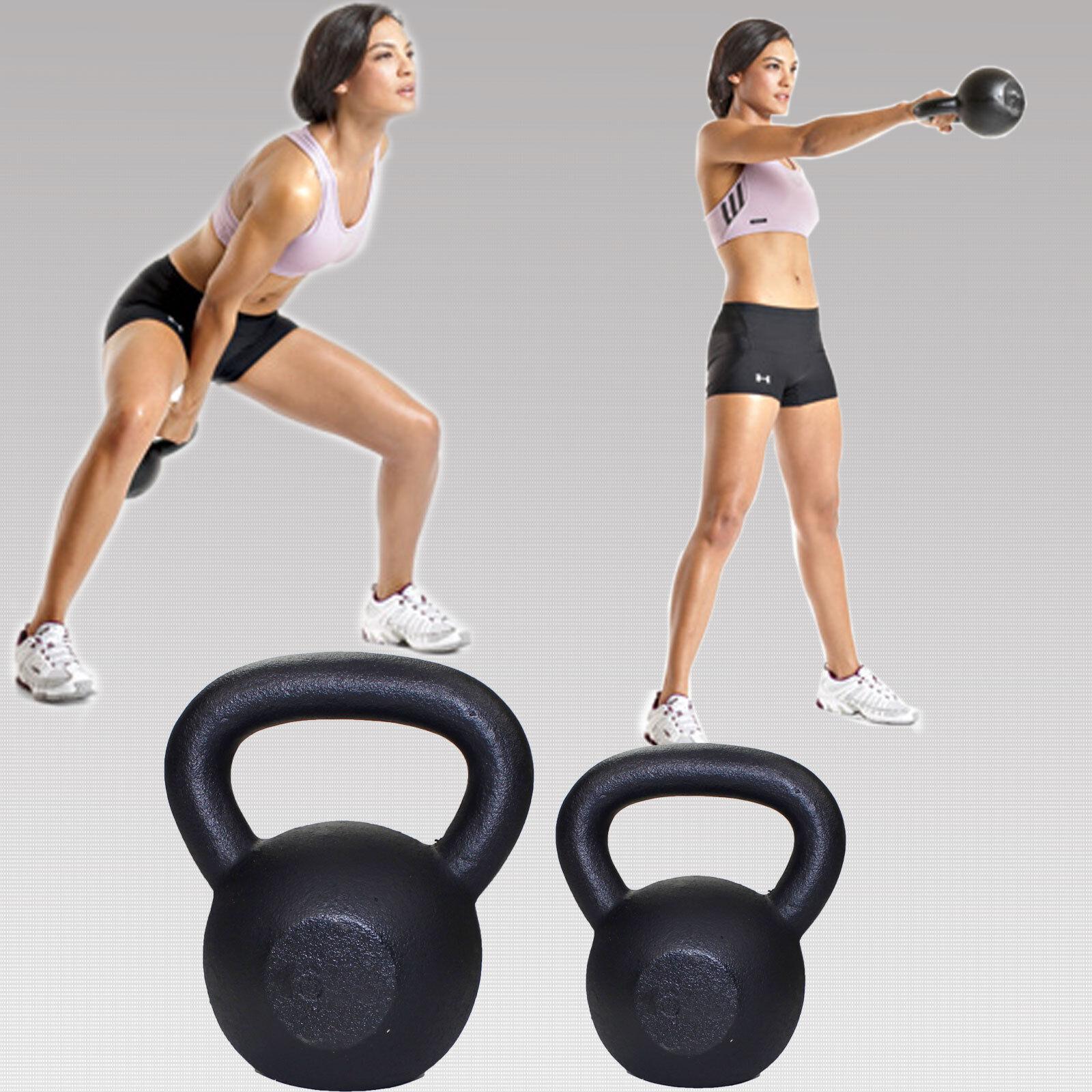 Paire de Bouilloire Bell 12 & 16 kg fonte kettlebell poids cloches gym exercice