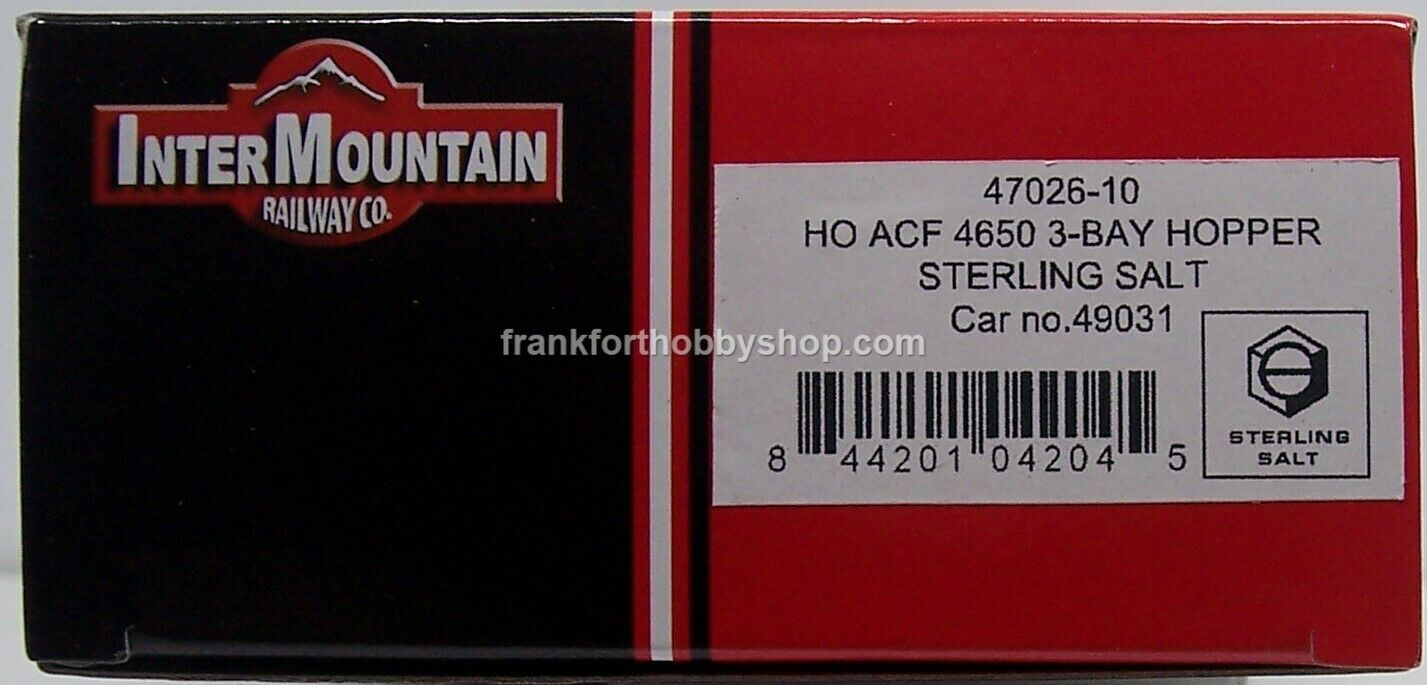 Intermountain HO ACF4650 CU. FT.3BAY Hopper Sterling Salt Car