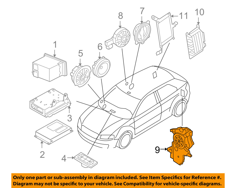 Audi Oem 08 13 A3 Stereo Audio Radio Rear Speaker 8p4035382e