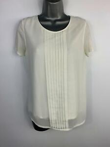 Haut-femme-HOBBS-blanc-a-encolure-ras-du-cou-a-manches-courtes-plisse-Casual-T-Shirt-Homme-Taille-S