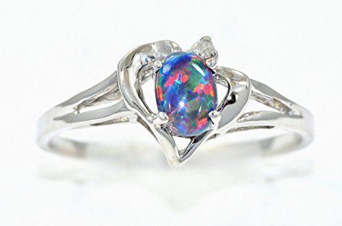 6x4mm Black Opal /& Diamond Oval Heart Ring .925 Sterling Silver
