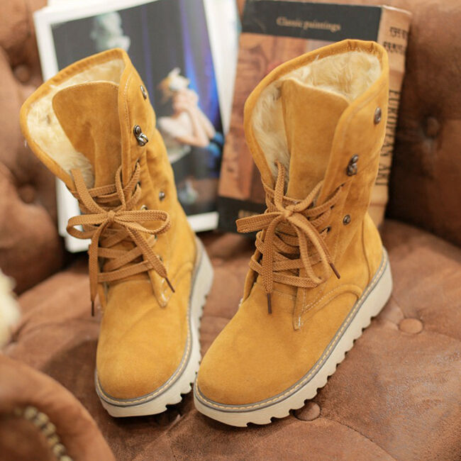 Women Winter Warm Girl Cute Boots Comfort shoes Flats Round Toes Ankle 2018New