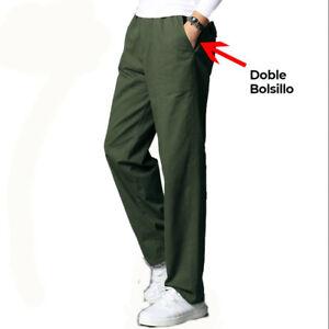 Pantalon Hombre Recto Con Cintura Elastica Y Cordon De Ajuste Talla Grande Ebay