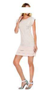 Marken-Shirtkleid-Kleid-Sommerkleid-mit-Stufenrock-amp-Pailletten-Gr-40-44