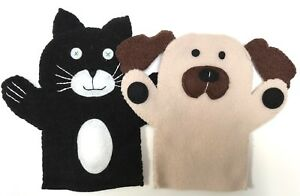 Cat & Dog - 2 GLOVE PUPPETS - soft fleece - hand sewn - unique