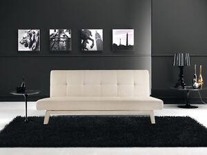 Divano letto sofa 180x80 bianco ecopelle reclinabile design moderno