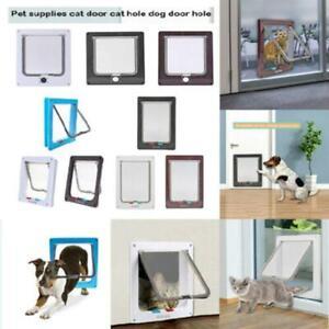 S-XL-4-Way-Lockable-Dog-Cats-Security-Flap-Door-Kitten-Puppy-Pets-Plastic-Gate