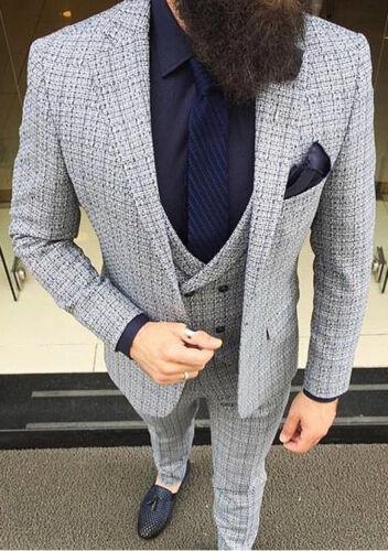 Business Herenpak Wit Blazer Broek Vest Slim Grijsblauw Ontwerper Fit Getailleerde orBCdxeW