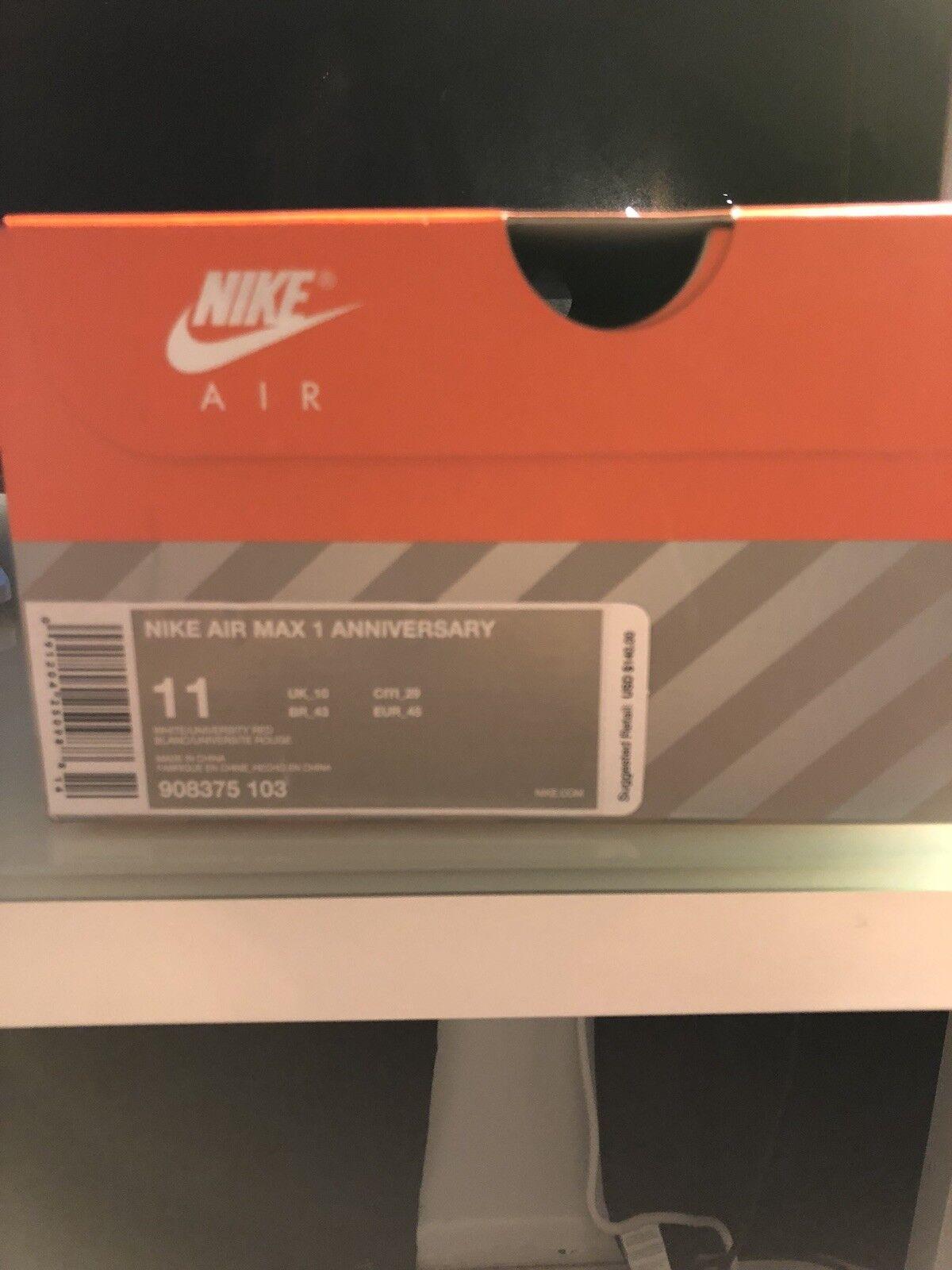 Nike air max 1 anniversario og bianco rosso grigio università taglia 11 908375 103