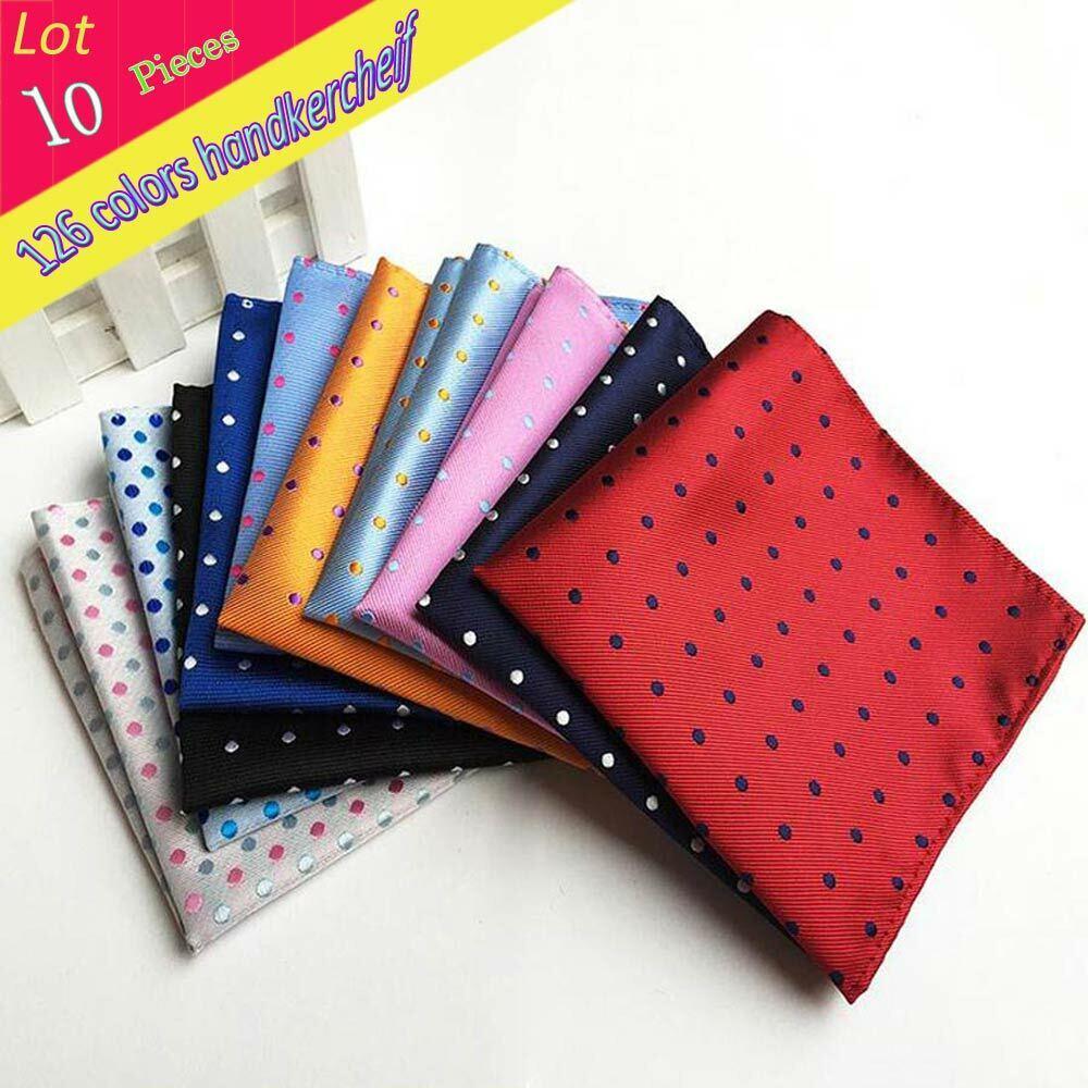 (10 Pcs/Lot)Factory Men's 100% Silk Handkerchief Polka Dots Chest Towel Hanky