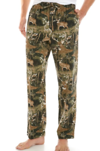 Details about  /NWT Men/'s Saddlebred All Over Deer Printed Flannel Sleep Pant Lounge Pants L