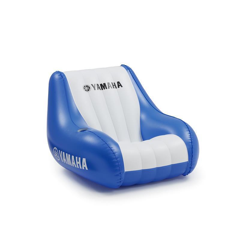 Aufblasbarer Yamaha Sessel blue für Camping Wasser Meer Strand + Gertänkehalter