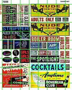 7005-DAVE-039-S-DECALS-HO-SCALE-DECALS-STRIP-CLUB-ADULT-BOOK-STORE-SIGNAGE-AND-ADS