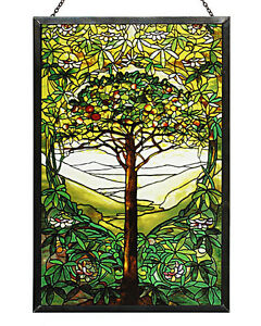 Image Is Loading Tiffany Tree Of Life Stained Art Gl Panel