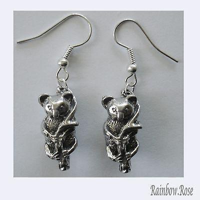 Earrings #165 Pewter KOALA (20mm x 10mm) - Silver Tone KOALAS Aussie Animal