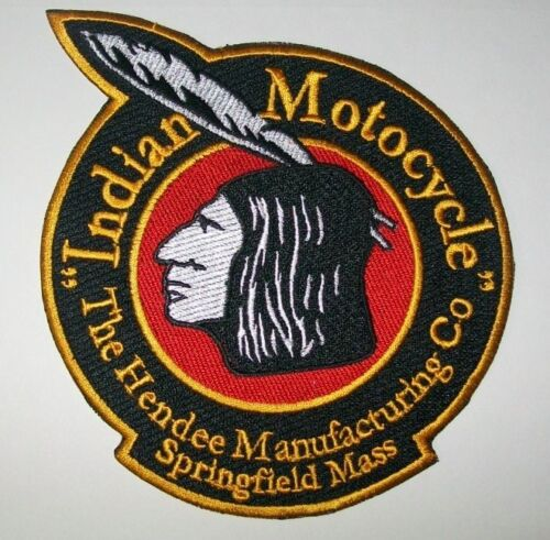 """NICE! Indian motorcycle 5/"""" Hendee patch.BLACK NEW"""