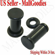 0932 Black Acrylic Single Flare Ear Plugs 4 Gauge 4g 5mm MallGoodies One 1 Pair
