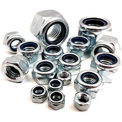 1 verrouillage écrous 10 Zinc Coated 20 5 M10-M16 métrique fine DIN 985 50 Packs