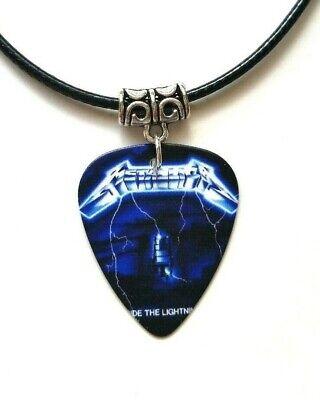 Guitar Pick plectrum leather Necklace Pendant Purple Thunder Bolt lightning rock