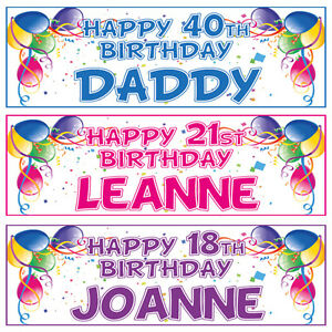 2 personalised balloon birthday banners 1st 18th 21st 40th 50th