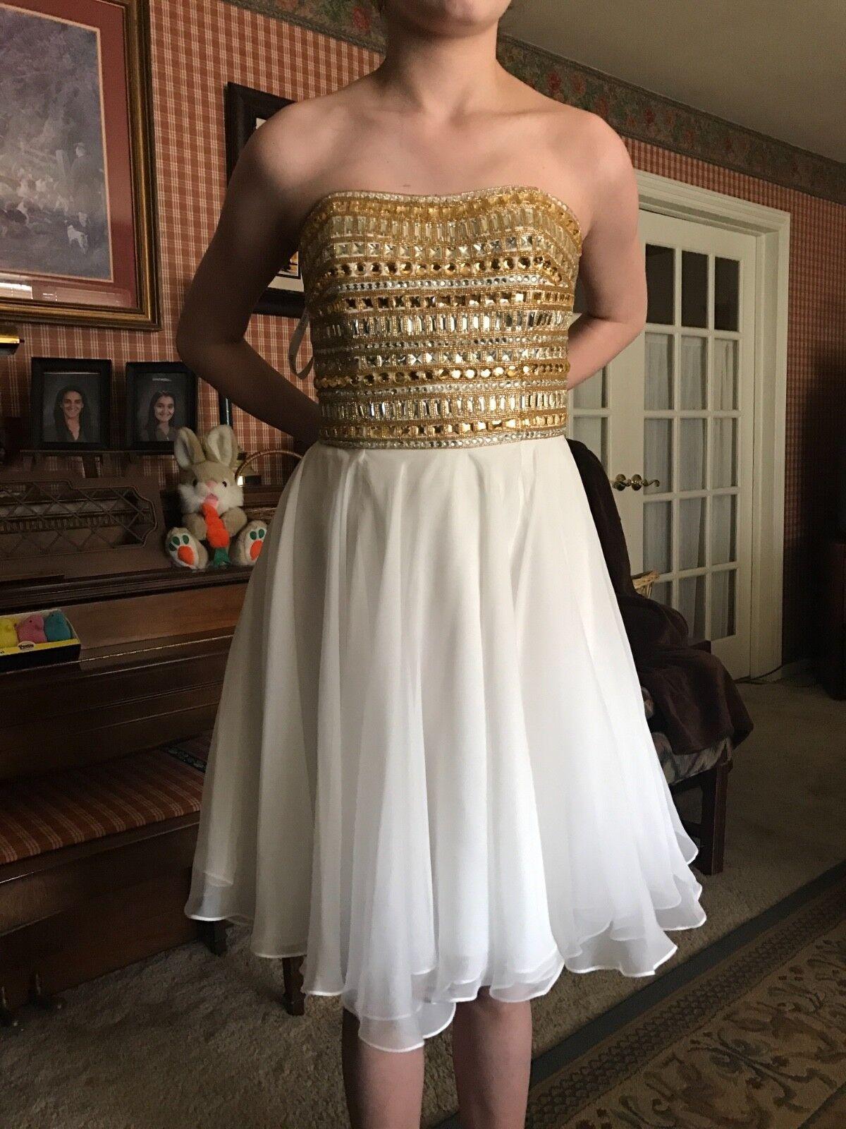 Sherri Hill Prom Prom Prom Dress Size 6 Short White & gold 506daa