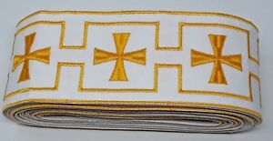Vintage-Orphrey-Croce-Design-10-8cm-Larghezza-Oro-Giallo-su-Bianco-Bendaggio-13