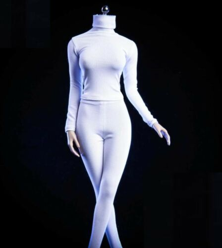 1//6 women white Slim Collar Tights stretch suit for phicen hot toys kumik ❶USA❶
