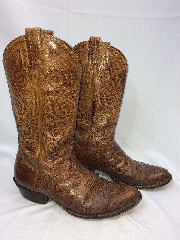 Vintage sanders di pelle marrone stivali da cowboy a a cowboy ricucire Uomo 9 d 925afd