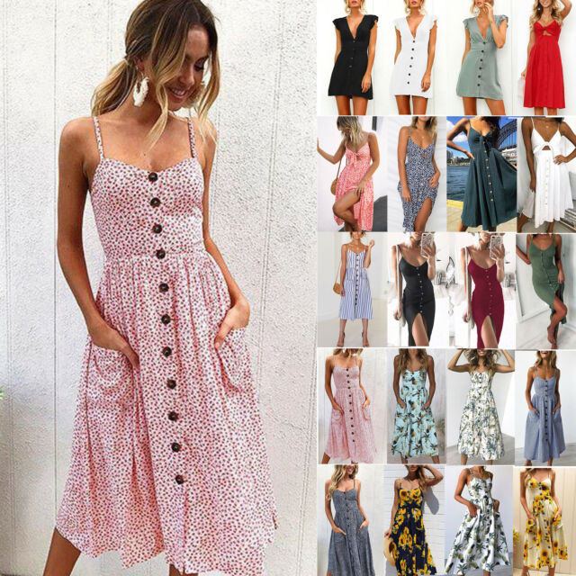 AU Women Strappy Bowknot Button Pocket Beach Dress Summer Midi Swing Sun Dresses