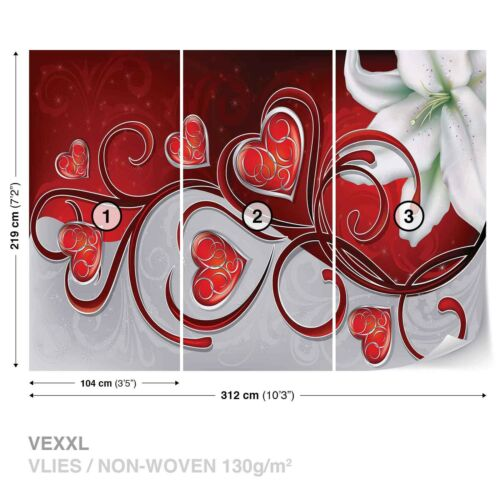 Wallpaper photo Wallpaper Abstract Red Hearts White Lily Romance Love Passion