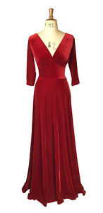 Baylis-Knight-Red-Velvet-Plunge-MAXI-Flared-Skirt-Low-Cut-Dress