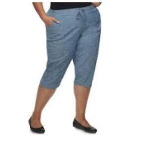 310122356b1 CROFT   BARROW  36 Blue MID RISE Pull On CAPRI Pants Women s Sz 3X ...