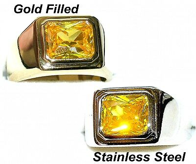Mens Gold Stainless Steel Large Oval Citrine Gemstone Motorcycle Rings Jewelry