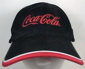 e5c10d83a9b Black Coca-Cola Coke Cap Hat Black Red trim Embroidered adjustable ...