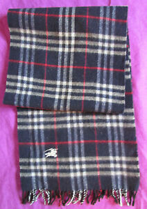 Superbe-Echarpe-BURBERRYS-London-100-pure-laine-vierge-TBEG-vintage-scarf