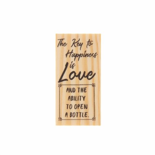 Key to Happiness Key Bottle Openers Wooden Rubber Stamp for Tags