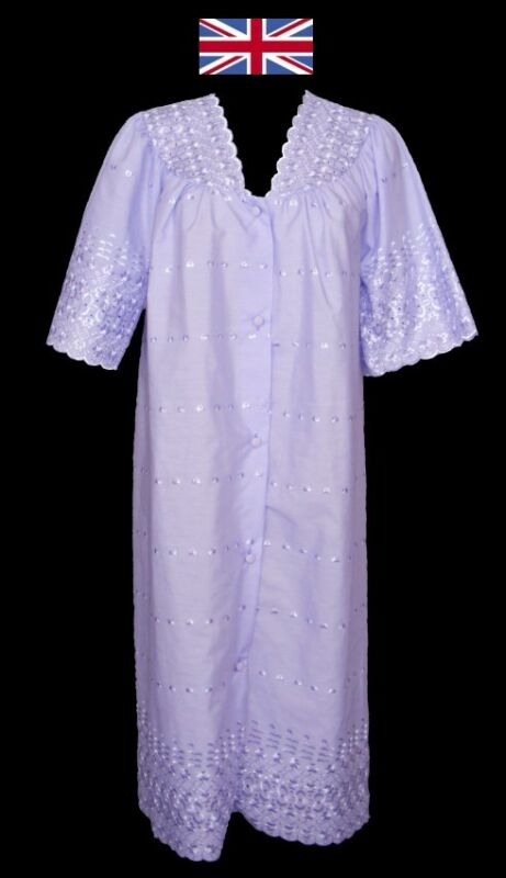 Broderie Anglaise Full Button Front Short Sleeve Nightdress/gown Sizes 10-28