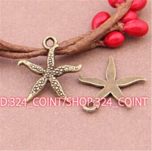 P521 30pcs Antique Bronze starfish Pendant Bead Charms Accessories wholesale