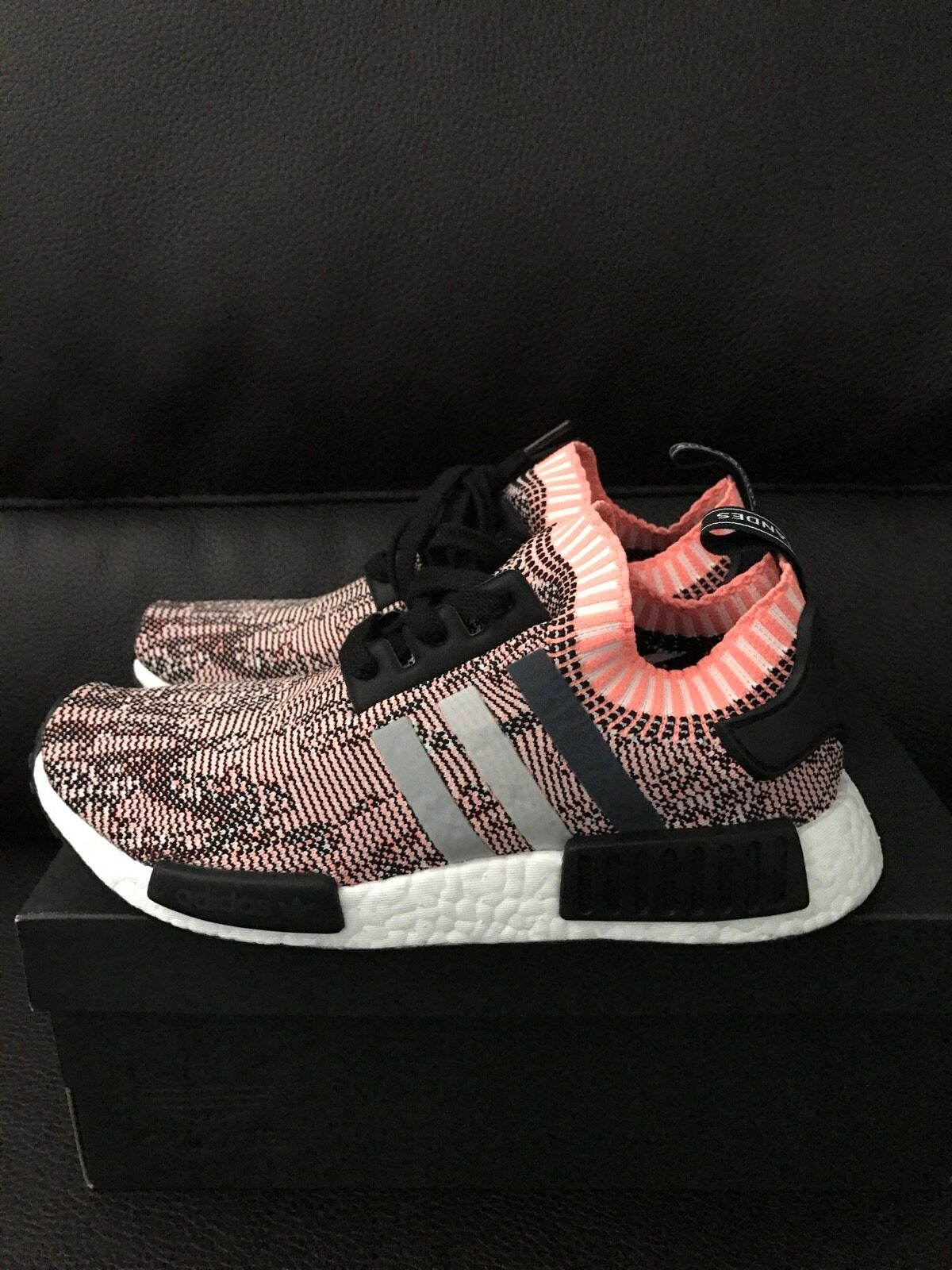 775d012b5 ... Adidas NMD R1 Primeknit Boost Boost Boost Salmon Pink Camo Athletic  Sneakers Running Shoe 8 355c11 ...