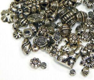 Acryl-Perlen-Spacer-50g-Gemischt-Tibet-Silber-Metall-Auftritt-Kunststoff-D118
