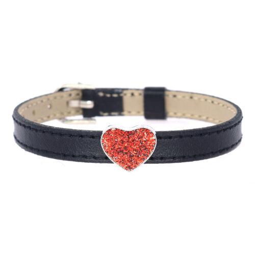 Wholesale 8 mm Slider couleur Heart Slide Charms fit pour 8 mm Ceinture//Pet Collar SL670