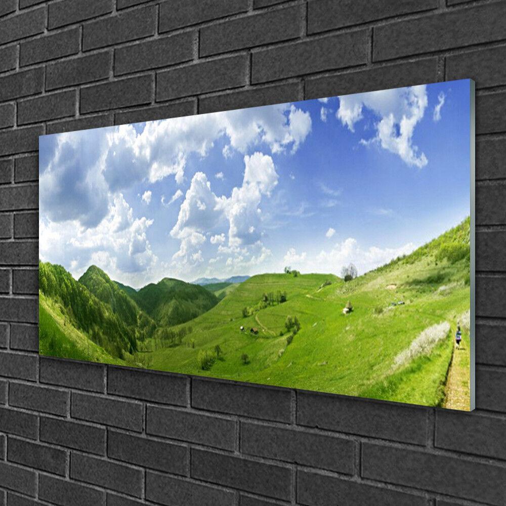 Tableau sur verre Image Impression 100x50 Nature Prairie Montagne