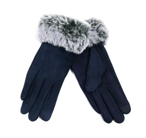 Nollia Women/'s Navy Faux-Fur Cuff touch Screen Gloves