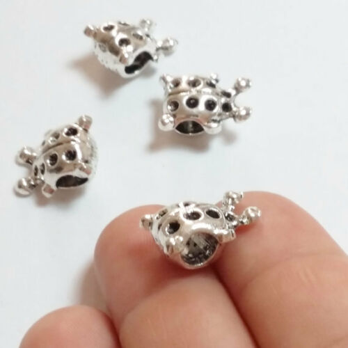 5pcs Chunky Coccinelle Grand Trou perles COCCINELLE métal argent antique 14 mm B02488
