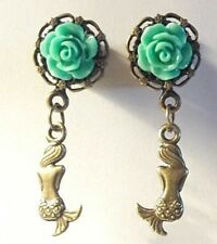 Pair Of ROSE  Double Flared DANGLE Queens Key MEDIEVAL EAR GAUGES PLUGS