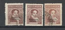 ARGENTINA -3 USED STAMPS - OVERPRINT SERVICIO OFICIAL - C. 10 - 1938.