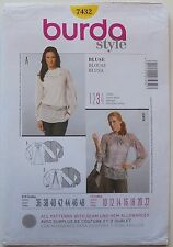 Burda 7432 Misses Blouses Blusa Sewing Pattern Sz 10-22
