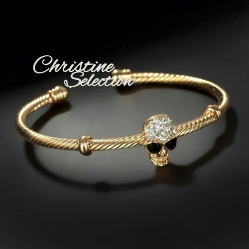 Skull Gold Silver Bracelet Cuff Gothic Bangle Crystal Women Ladies Girl Gift