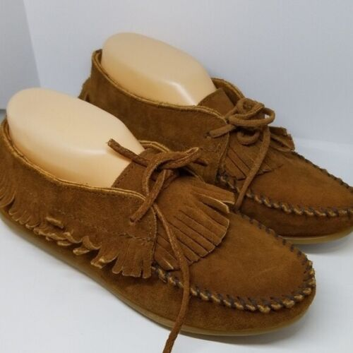 MINNETONKA WOMEN'S BROWN LEATHER FRINGED MOCCASIN