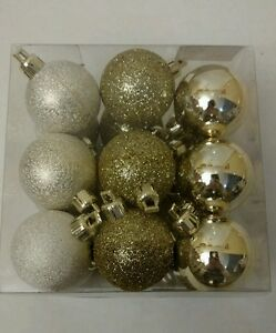 Set of 18 mini little small christmas holiday ball for Small gold christmas ornaments